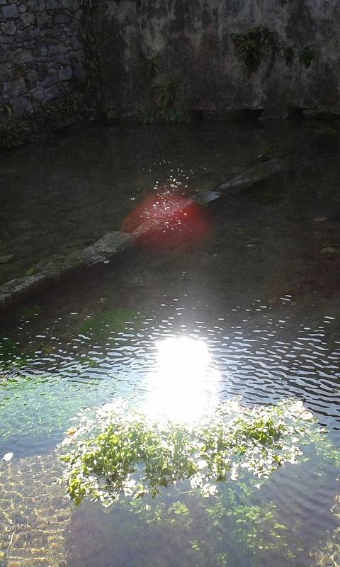 Apparition d'une ondine dans une fontaine sacrée.
